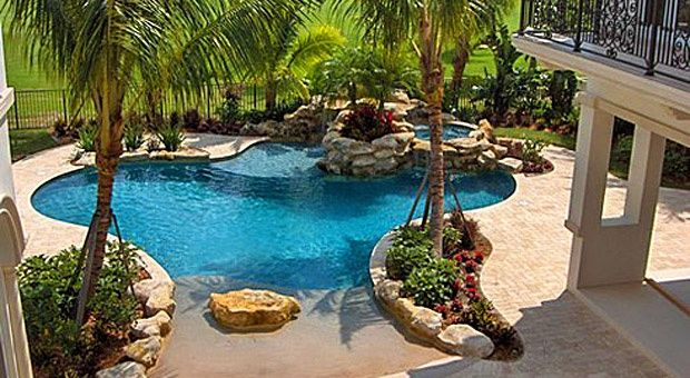 Beach entry pool pool hot tub ideas pool designs for Pool design with beach entry