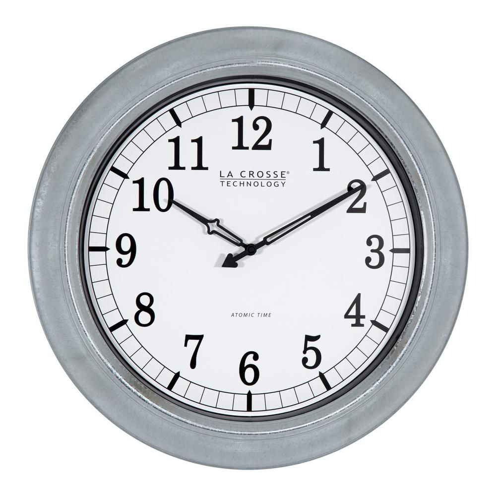 18 in galvanized indooroutdoor atomic analog wall clock galvanized indooroutdoor atomic analog wall clock galvanized silver metal amipublicfo Gallery