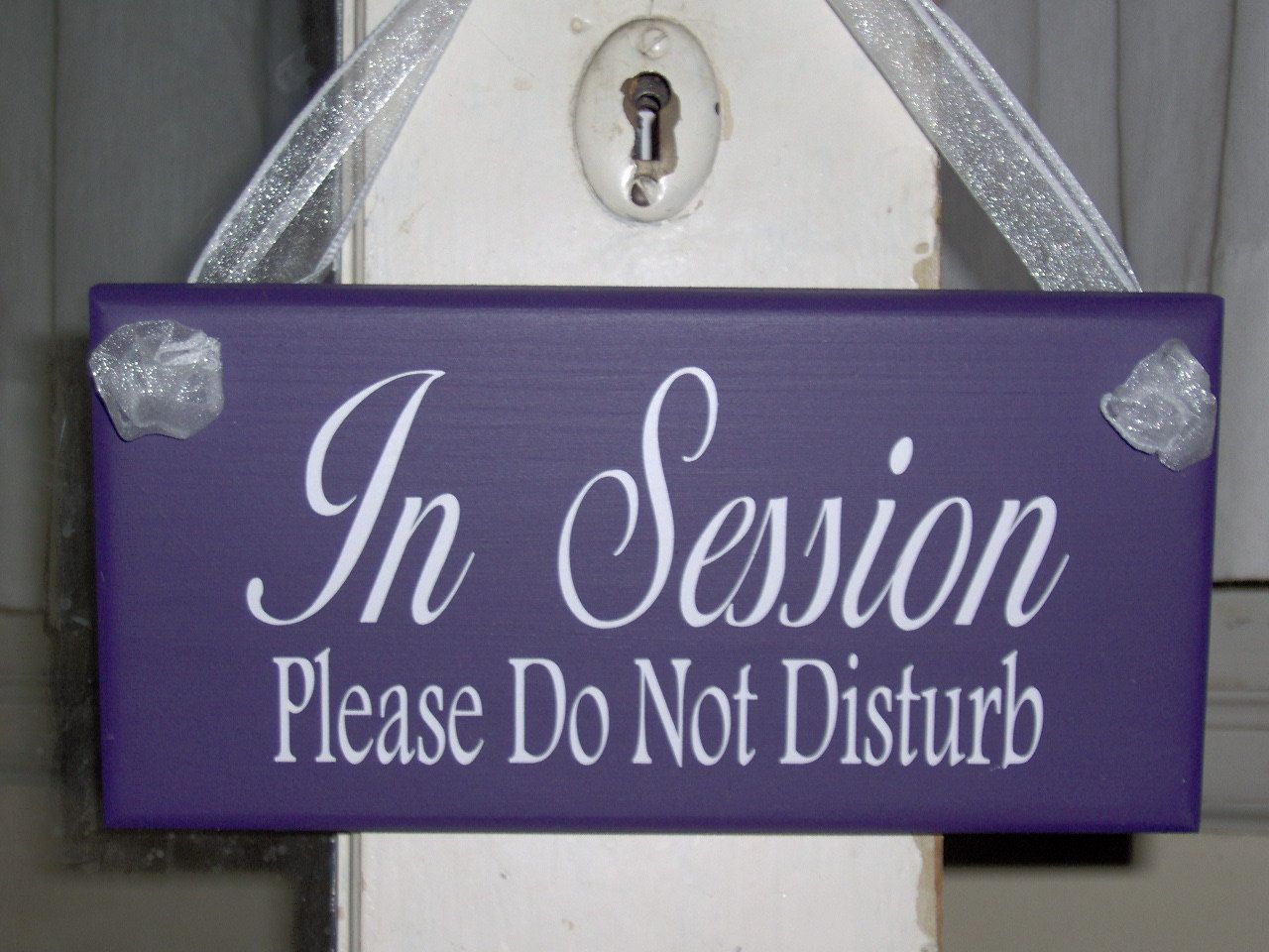 In session sign please do not disturb purple wood vinyl