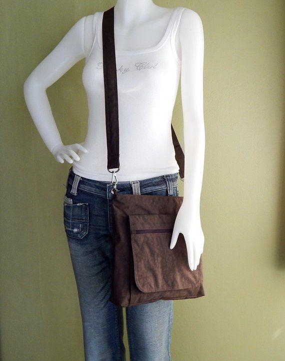 Sale - Chocolate Brown Water Resistant Nylon Messenger Bag - Shoulder bag, Purse, Cross body, Tote,