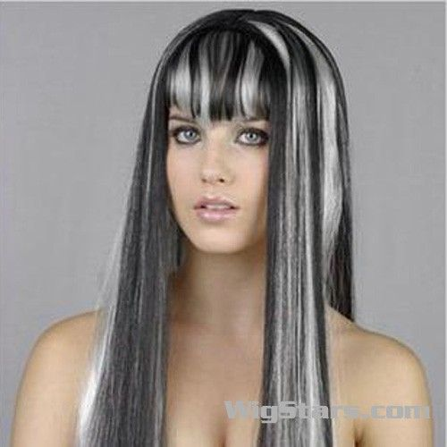 Gray Highlights Loooooooove The Color Hair Color For Black Hair Long Wigs Fancy Dress Wigs
