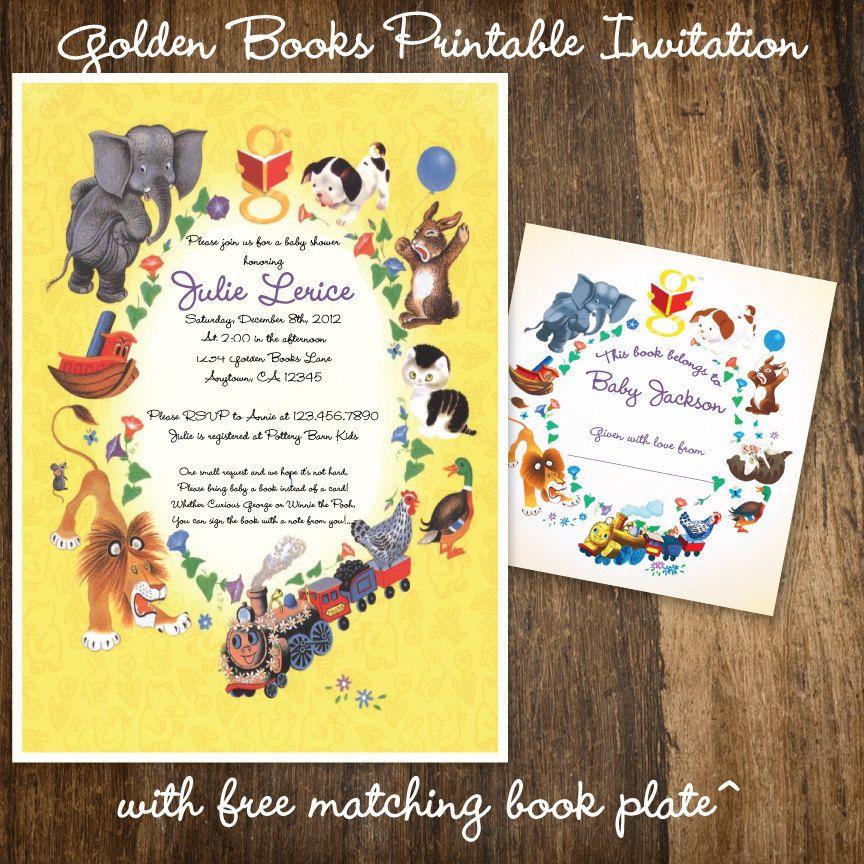 Children\'s Storybook Birthday Party or Baby Shower Invitation Golden ...