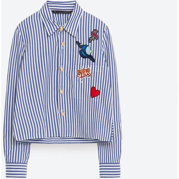 STUDIO POPLIN SHIRT (2,400 MXN) ❤ liked on Polyvore featuring tops, shirt top, poplin shirt and poplin top