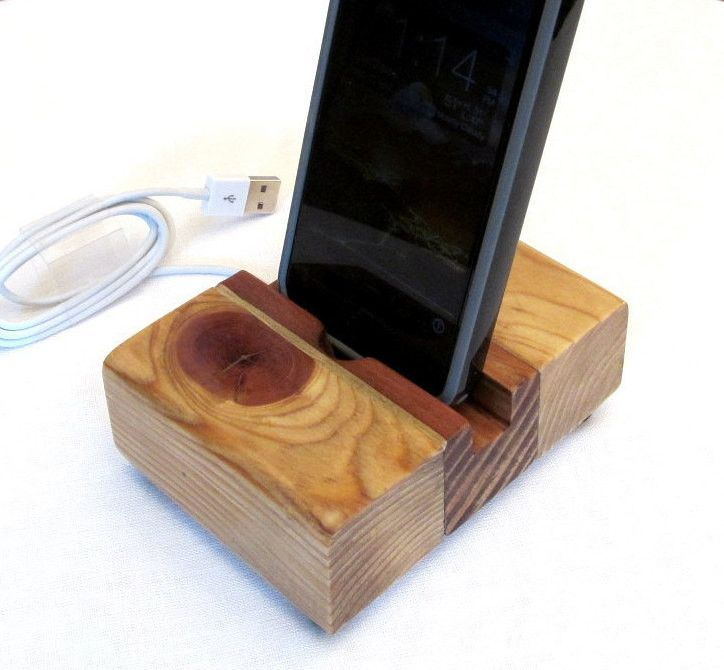 rustic wood iphone dock charging station iphone charger wood cell phone stand - Iphone Charging Station
