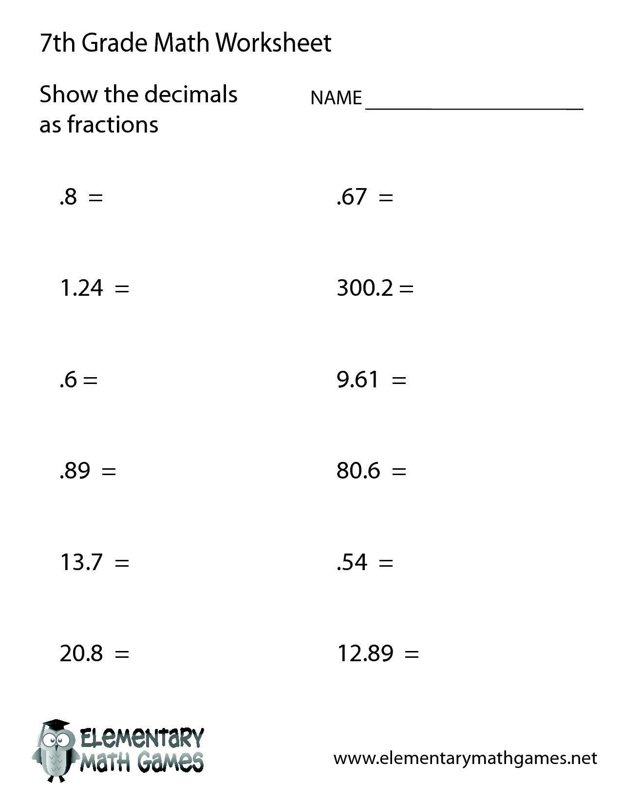 41 Stunning 6th Grade Math Worksheets Design 7th Grade Math