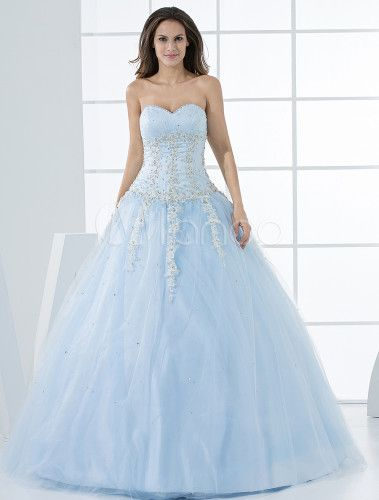 Grace Light Sky Blue Ball Gown Sweetheart Neck Quinceanera Dress - Milanoo.com