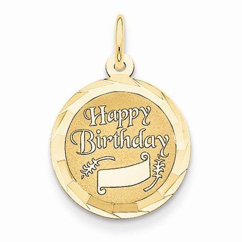 14k Yellow Gold Happy Birthday Charm Pendant