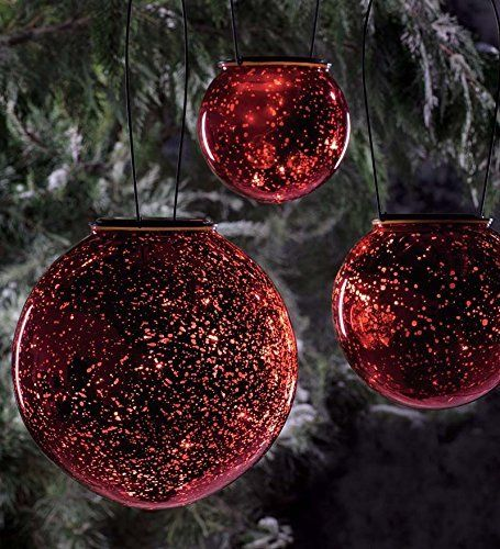 Solar Globes - Mercury Glass Solar Spheres, Set of 3;Contain LED - solar christmas decorations