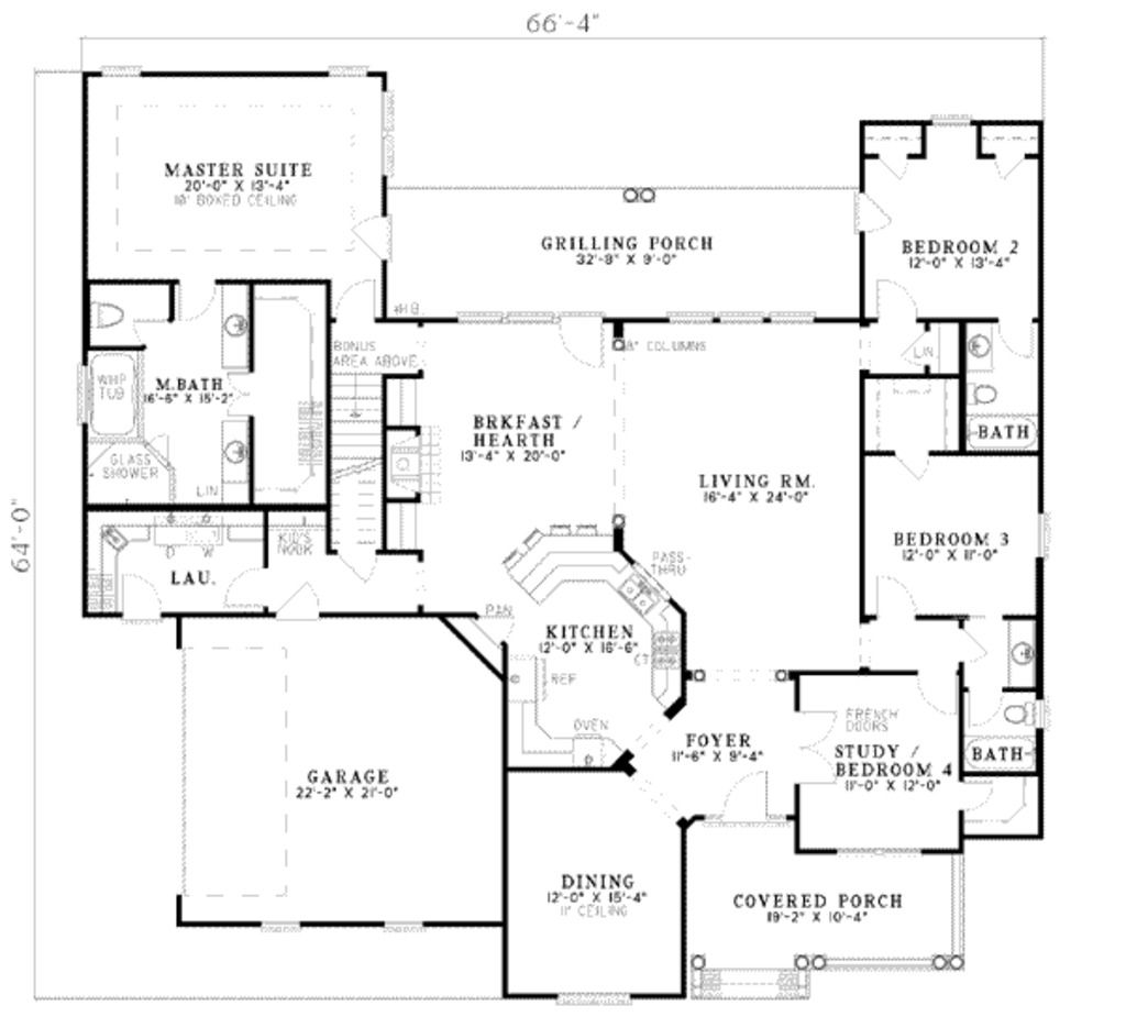 Country Style House Plan 4 Beds 3 Baths 2624 Sq Ft Plan 17 1101 House Plans And More House Floor Plans House Plans