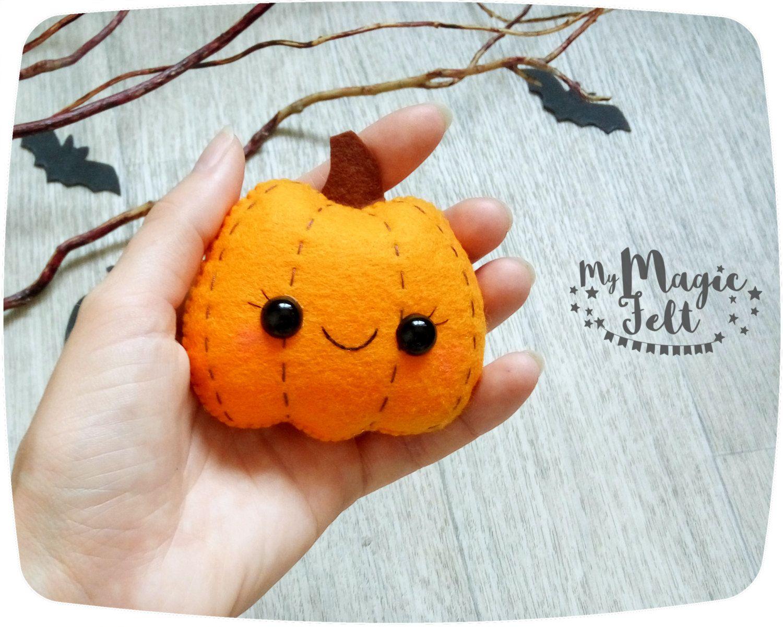 Halloween adornos fieltro calabaza por mymagicfelt - Calabazas para halloween manualidades ...