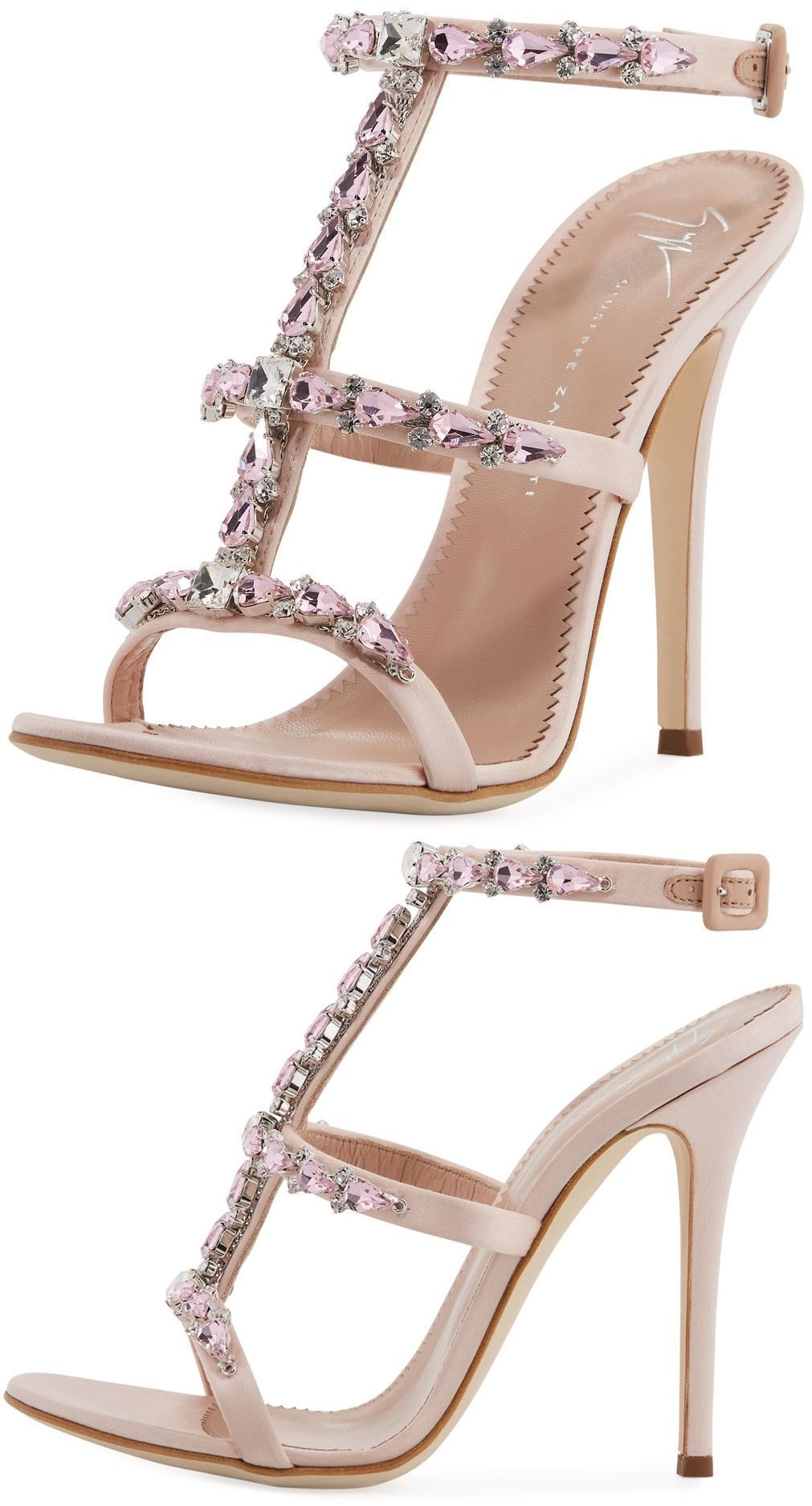 Giuseppe Zanotti crystal embellished satin sandal | Shoes
