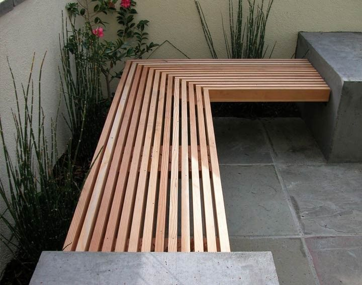 Outdoor Concrete and Wood Bench by DIYer | Jardín | Pinterest ...