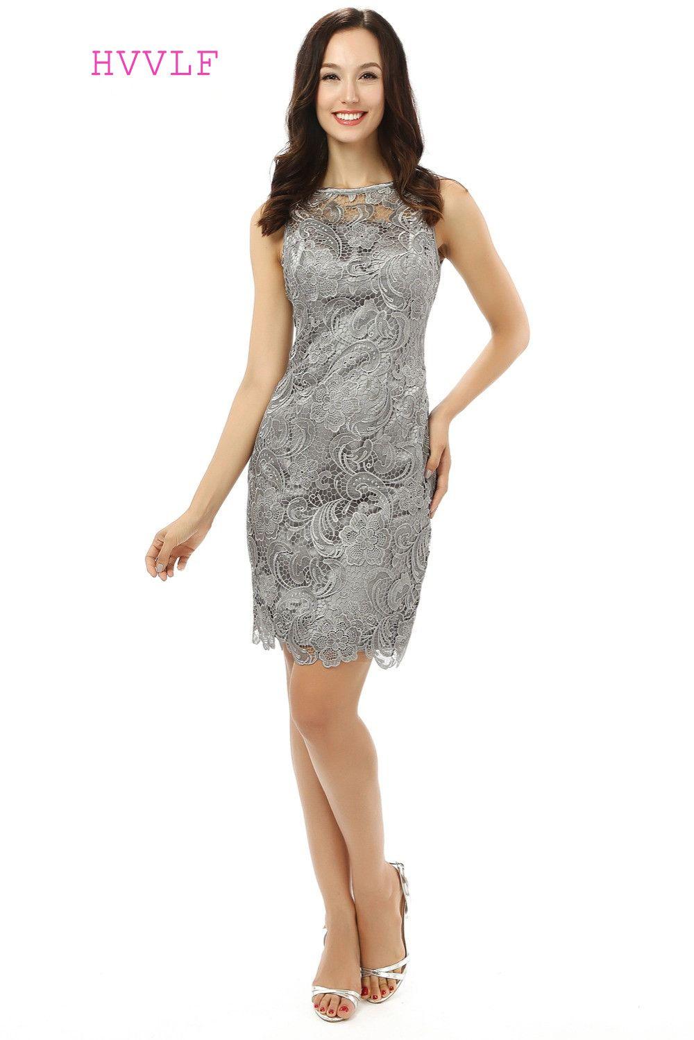 Gray 2017 Mother Of The Bride Dresses Sheath High Collar Knee Length ...