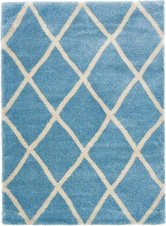 Light Blue Luxe Trellis Shag Area Rug