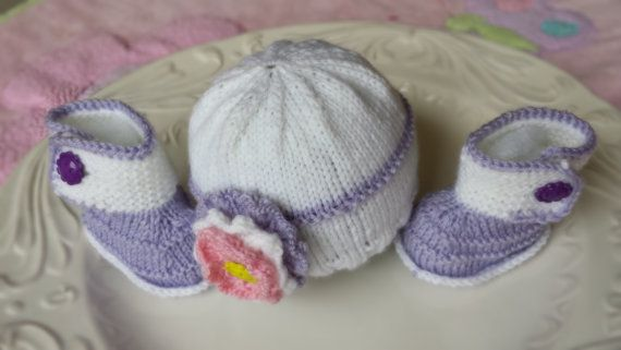 Hand knitted set for preemie baby in white and purple on Etsy