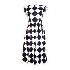 COMME DES GARCONS bleached diamond printed cotton dress