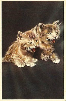 Artist 1930s Two Kittens Talking Collectible Antique Vintage Postcard