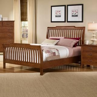 Vaughan Bassett Furniture Simply Light Solid Cherry Rake Sleigh Bed, Our  Finish Is A Bit