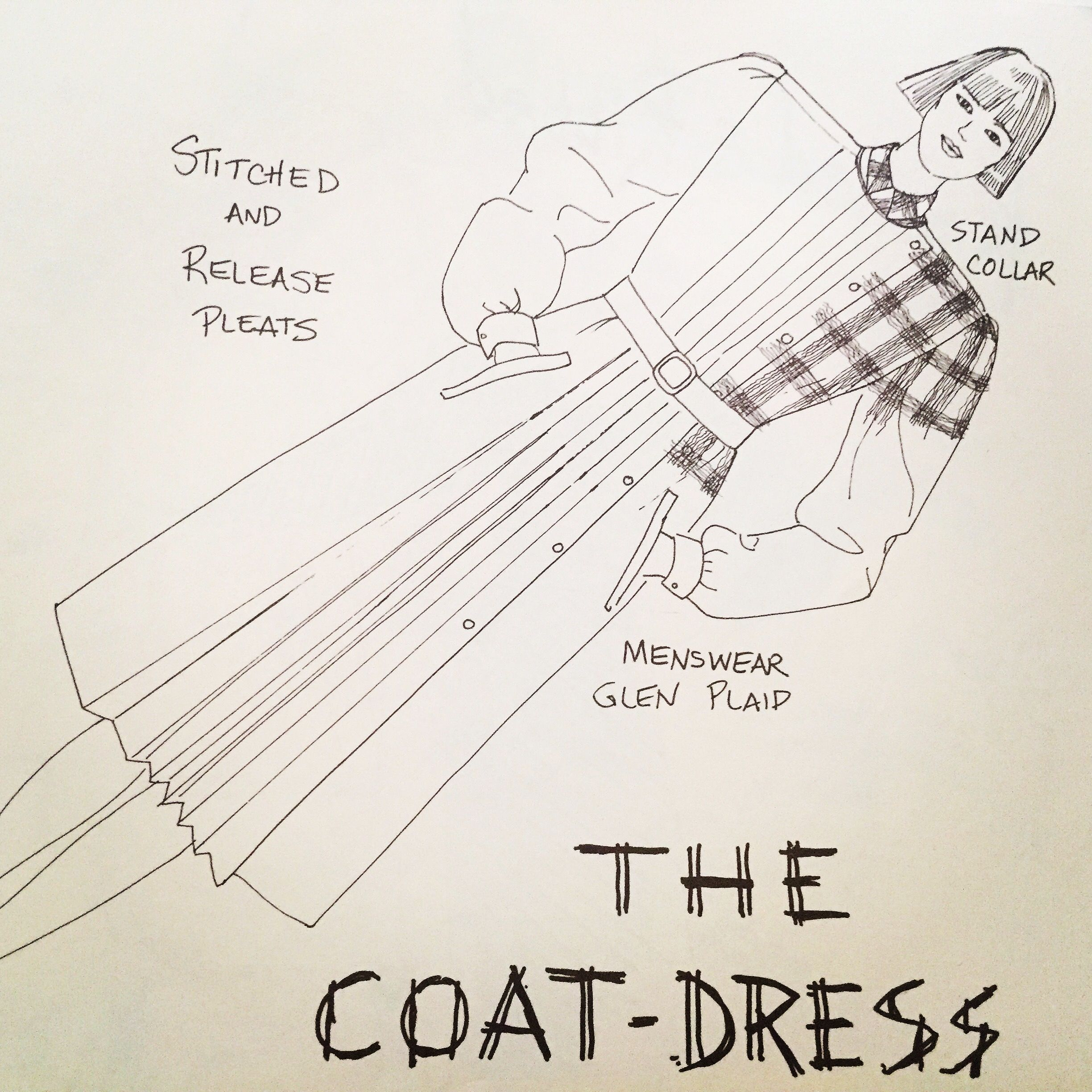 My illustration from the 1980 Milliken Fashion Trends book; The Coat Dress