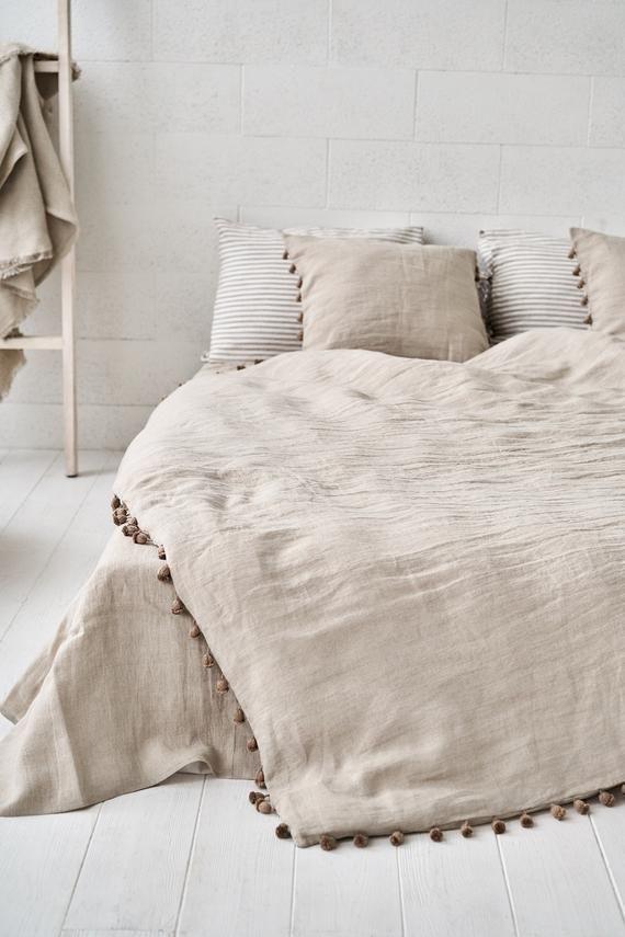 Linen Natural Pillowcase Boho Bedding, Linen Bed Sheets Queen Size