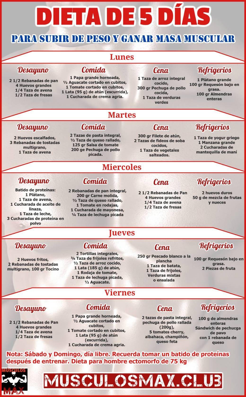 Dietas semanales para ganar masa muscular