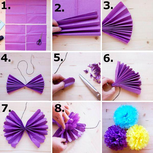 Aprende a hacer pompones con papel de seda tarjetas - Como se hacen flores de papel ...