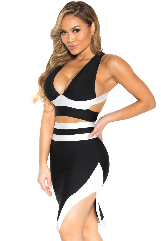 Classic Black White Bandage Cocktail Party Skirt Set https://www.modeshe.com #modeshe @modeshe #Black