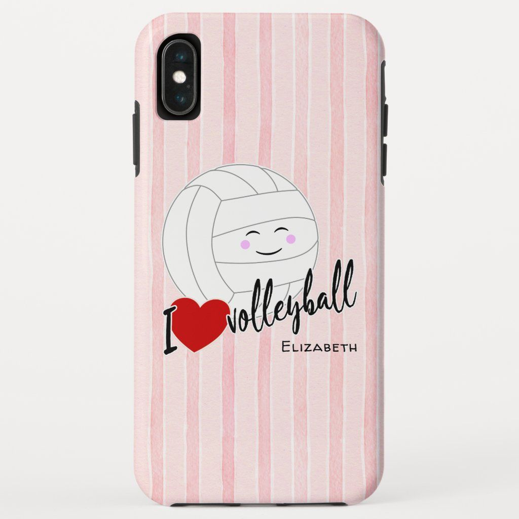 Happy Kawaii I Love Volleyball Heart Pink Stripes Case Mate Iphone Case Zazzle Com Volleyball Player Gifts Volleyball Volleyball Gifts