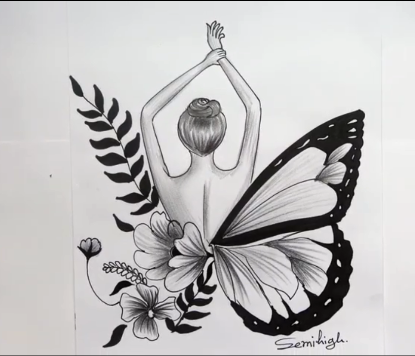 How To Draw Beautiful Butterfly Pencil Sketch Queen Of Forest In 2020 Beautiful Butterflies Drawings Pencil Sketch