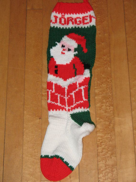 Hand Knit Christmas Stocking Santa in ChimneyTAKING ORDERS ...