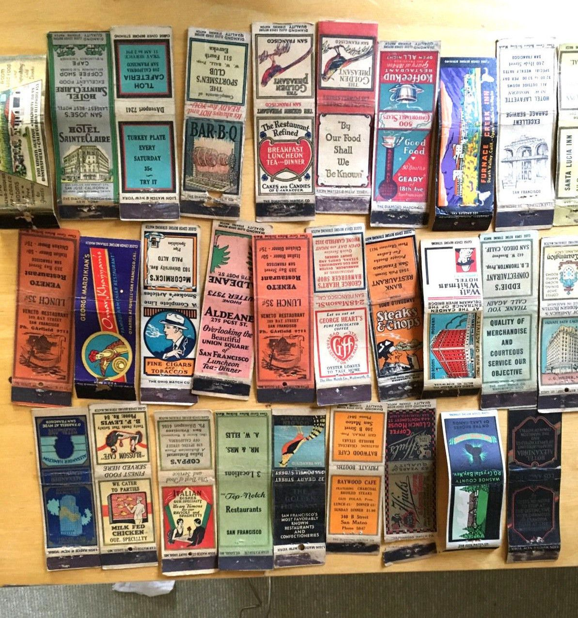Lot Of 29 1930s Wide Strike Matchbook Covers San Francisco ...