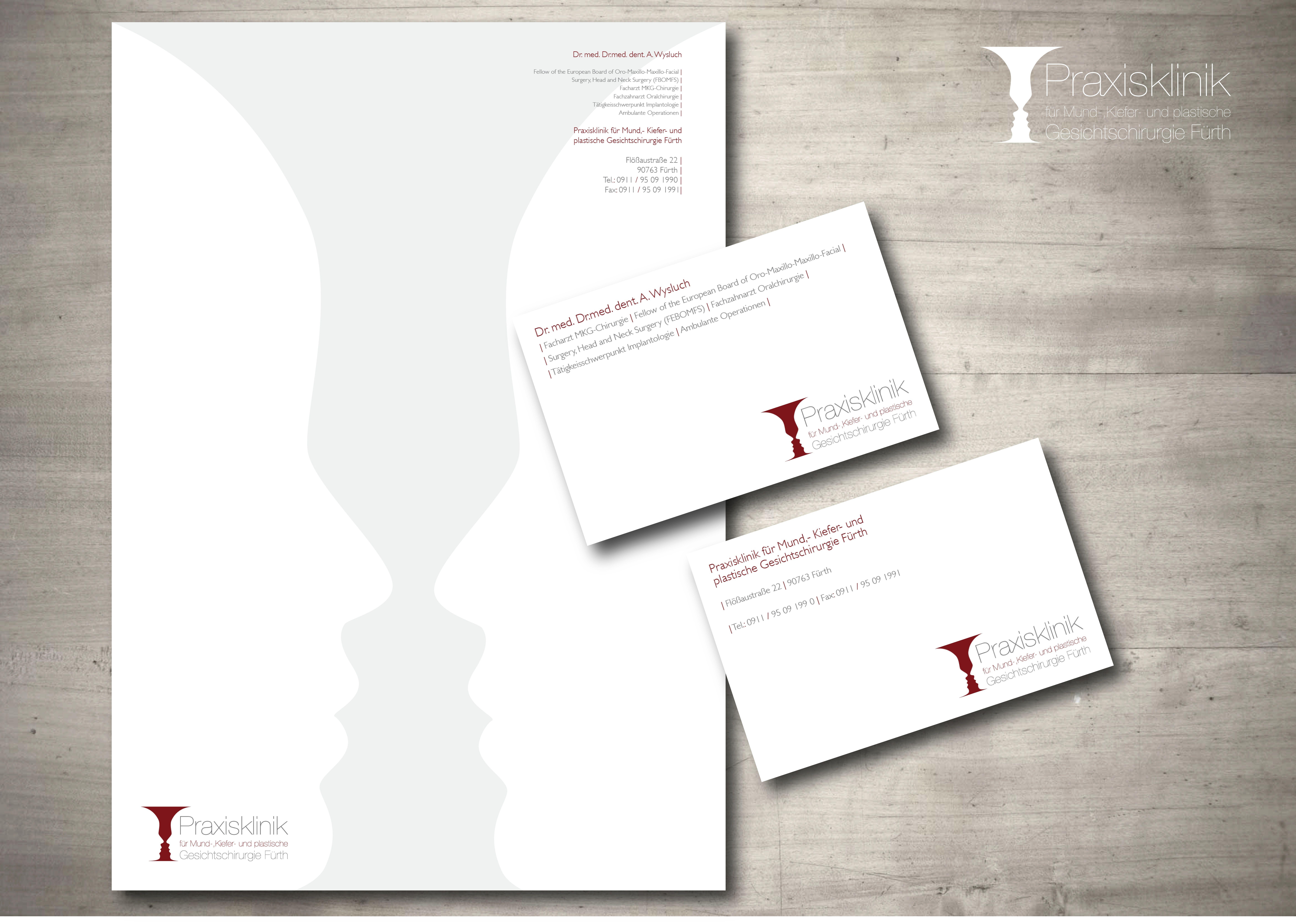 Briefpapier Visitenkarten und Logodesign für eine chirurgische