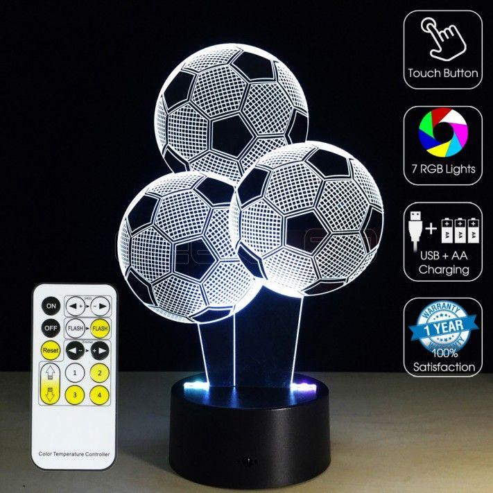 3d Footballs Optical Lamp Geekled Soccer Room Lamp Camera Lamp
