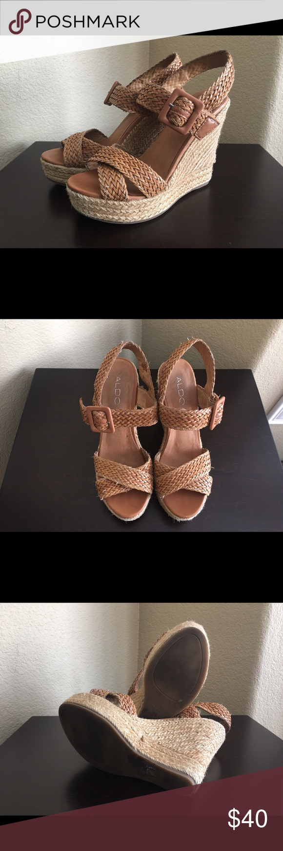 Aldo wedges Braided Aldo wedges perfect for summer size 6.5 ALDO Shoes Wedges