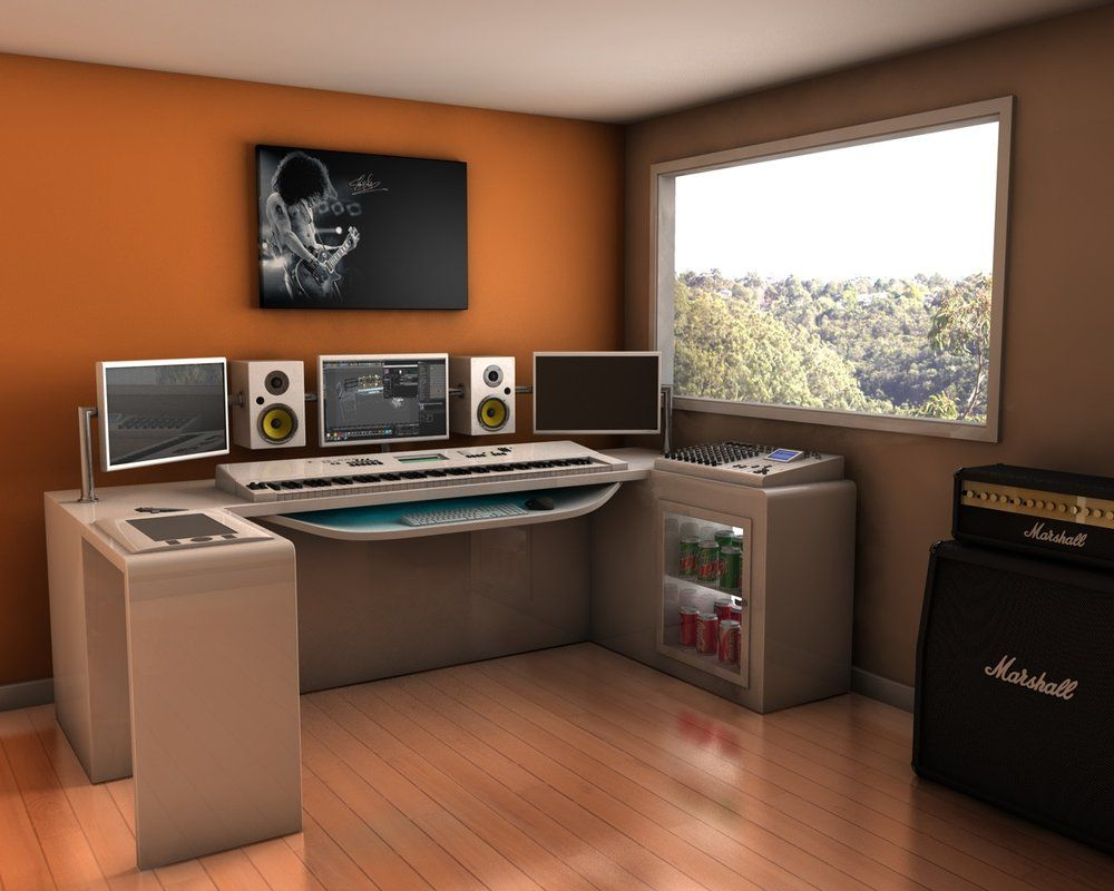 game desk ditch the keyboard and now we 39 re talking got to love the built in fridge m bel. Black Bedroom Furniture Sets. Home Design Ideas