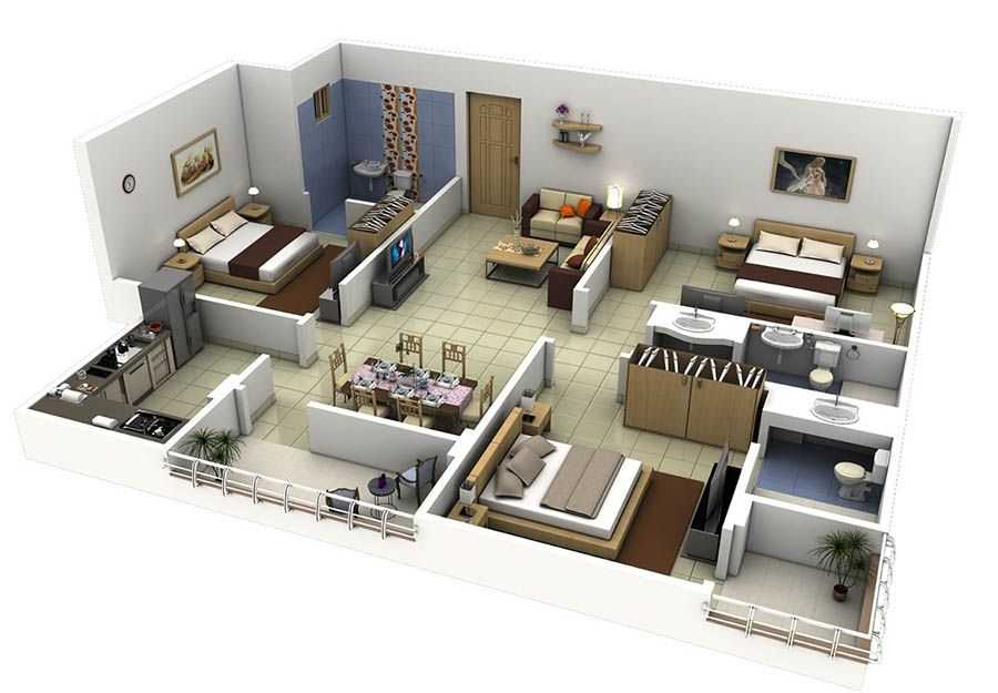 30 Houseplan  1 Floor 3 Brm  Home Decor  Pinterest  Bedrooms Gorgeous 3 Bedroom House Design Ideas Design Inspiration