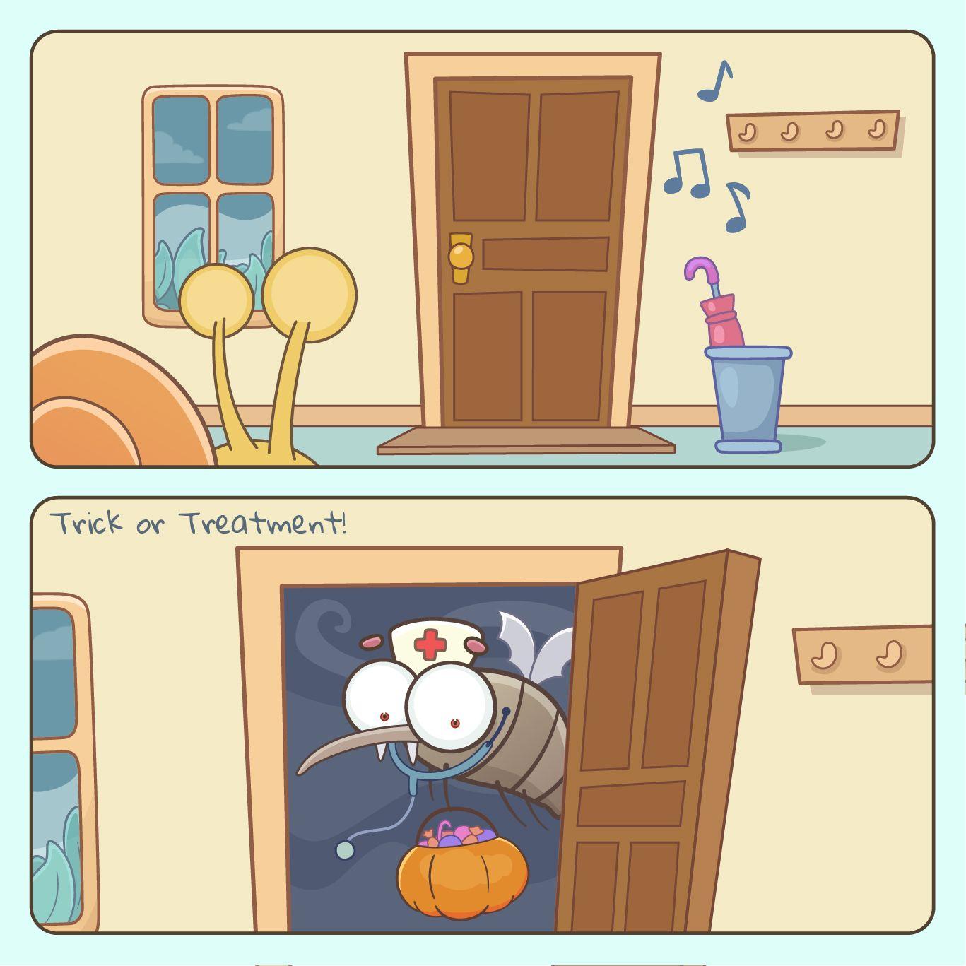 #trickortreatment #trickortreating #spooktacular #octoberfun #halloweencandy #ilovehalloween #vampirecostume #draculacostume #halloweencomic #halloweencomics #halloweenlooks #halloweeninspo #spookyseason #halloweenlife #falldecorating #shortcomic #comicstrip #halloweeneve #thisishalloween #candycorn
