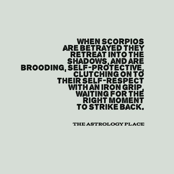 Scorpio, betrayal, brooding, and biding time.