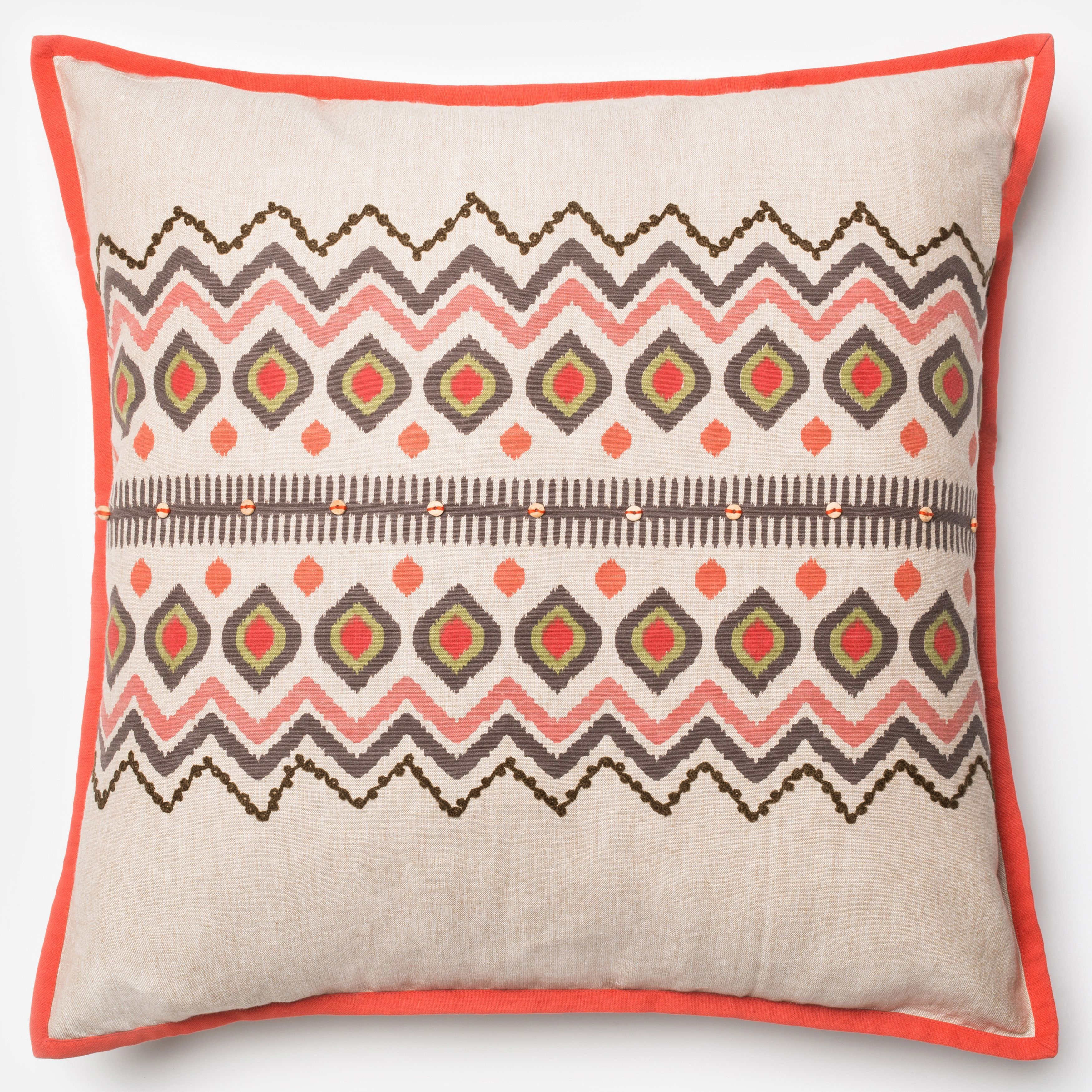 Alexander Home Printed Bohemian Red/ Natural 20-inch Down Feather ...