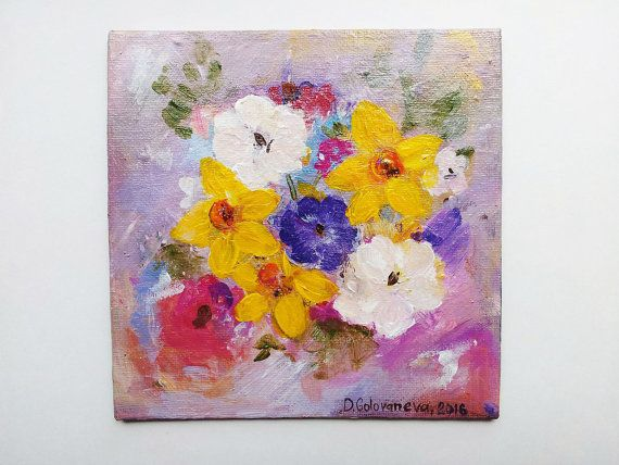 Small Abstract Painting Original Acrylic Painting by MensuraZoili