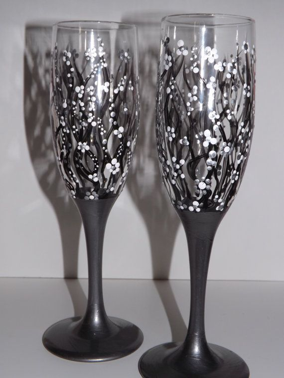 Champagne Flutes Hand Painted Dark Black by FunctionalyEnchanted, $15.00