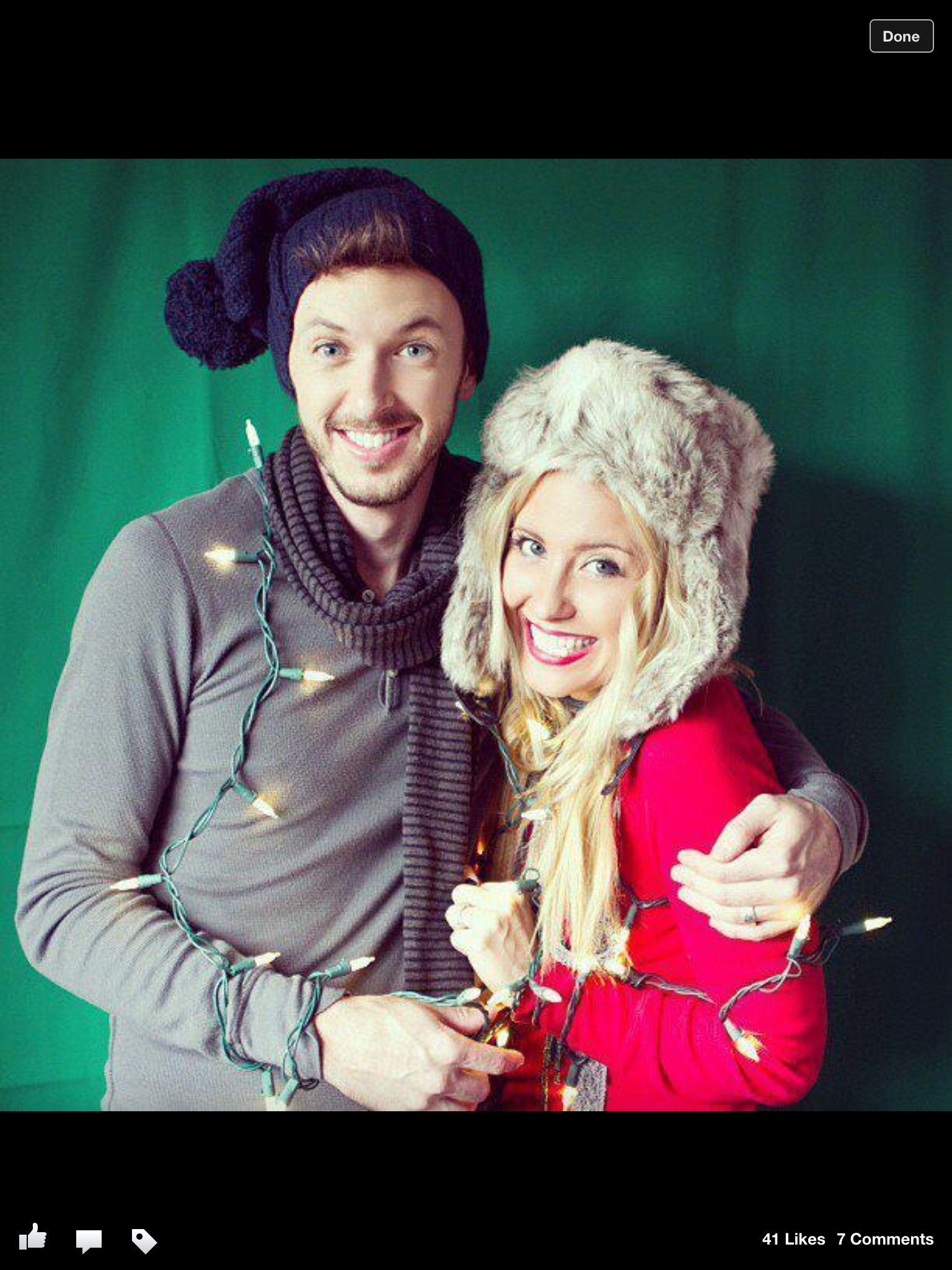 Couple Christmas Christmascard Holidays Lights Photo CreditAppleRose Photography
