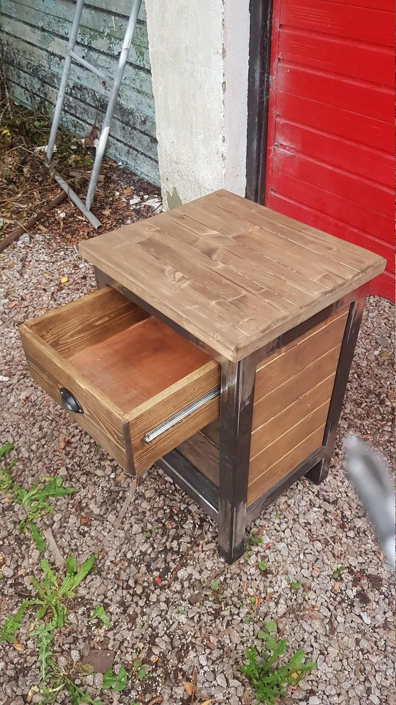 Wood And Metal Bedside Table: Industrial Bedside Tables Set