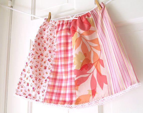 Girls Picnic Skirt 6 Peachy Pink Patchwork Skirt by ChirpAndBloom, $28.00
