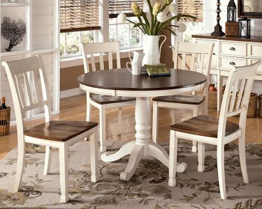 White Cottage Dining Set With Round Counter Height Table