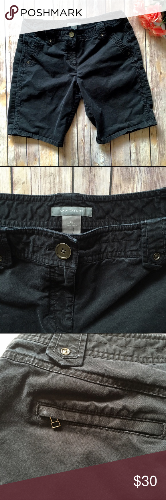 """❗️LAST CHANCE❗️ Ann Taylor Bermuda Shorts Take a summer stroll in these fabulous Ann Taylor black Bermuda shorts! Back zip pockets, button/zip fly. Waist measures approx. 17"""" across when laying flat, inseam approx. 10"""". Light fading, including a very small white fade mark on the back left hand pocket. Otherwise great condition, lots of life left! 🤗  🚫NO TRADES 🚫NO OFF SITE  ✅POSH RULES ONLY ✅DOG FRIENDLY, SMOKE FREE HOME ✅FAIR OFFERS 🔵 PLEASE USE OFFER BUTTON!  ❓ASK IN THE COMMENTS…"""