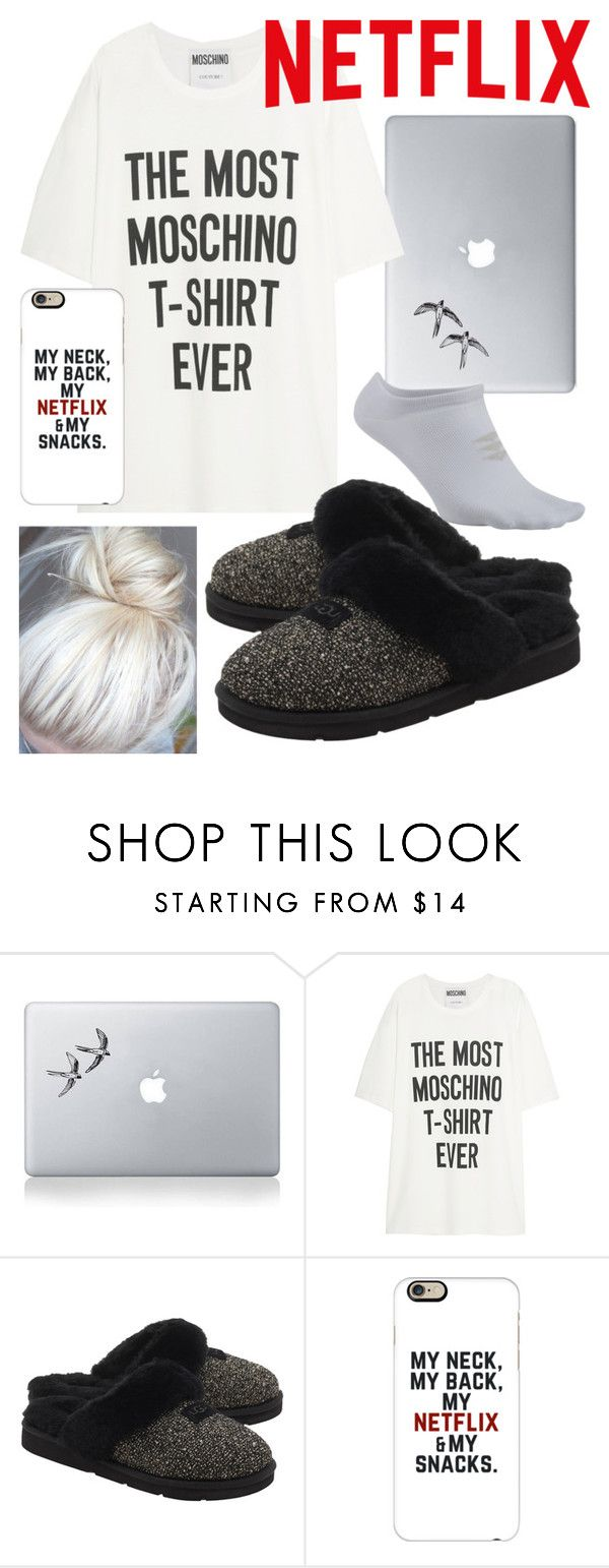 """""""Day 64: Quiet Night In"""" by jordanisfabulous ❤ liked on Polyvore featuring Vinyl Revolution, Moschino, UGG Australia, Casetify and 100daysofpolyvore"""