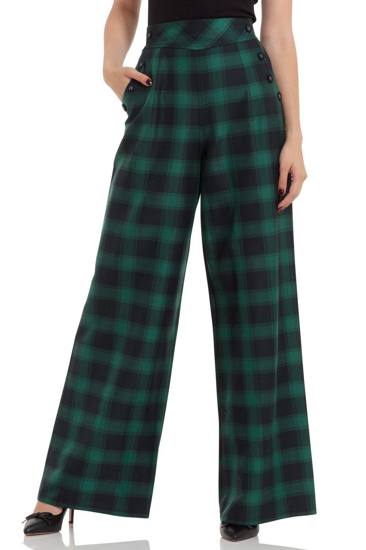 Pantalon Rétro Pin-Up 50 s Rockabilly Taille Haute Carreaux Carrie ... 1f39295f31f4