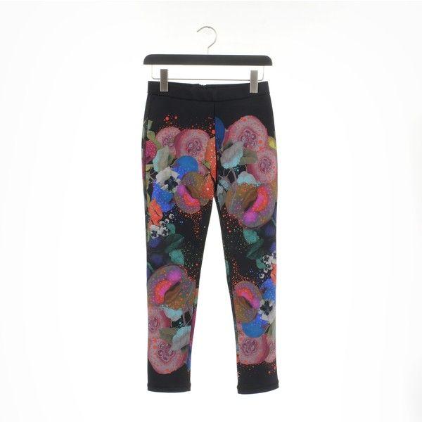 Cynthia Rowley Leggings ($25) ❤ liked on Polyvore featuring pants, leggings, floral pants, floral printed pants, legging pants, floral print leggings and white legging pants