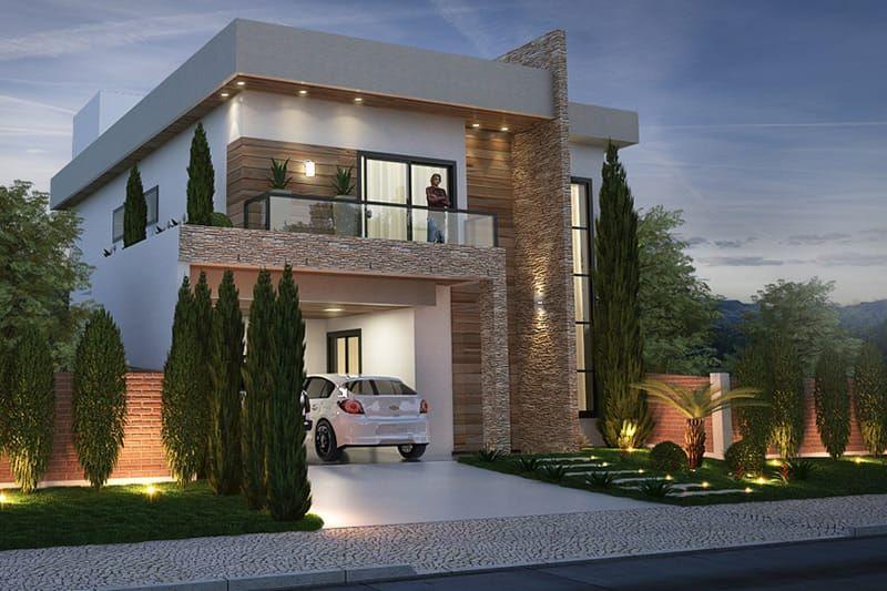 Plano de casa con fachada moderna casanueva pinterest for Modelo de fachadas de viviendas